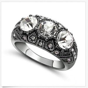 Jewelry - White CZ 18KT Black Rhodium Plated Size 7 Ring